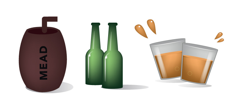 Vectors of drinking bottles