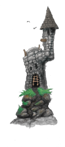 Illustration of a crooked castle for an E-learning game