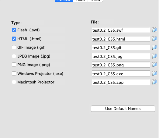 Publishing formats for Adobe Flash