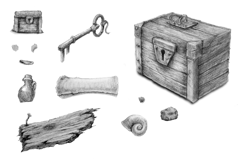 Created in flash - pencils drawing of game assets